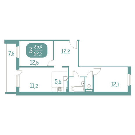 Вариант №2917, 2-комнатная квартира в жилом комплексе Аквамарин