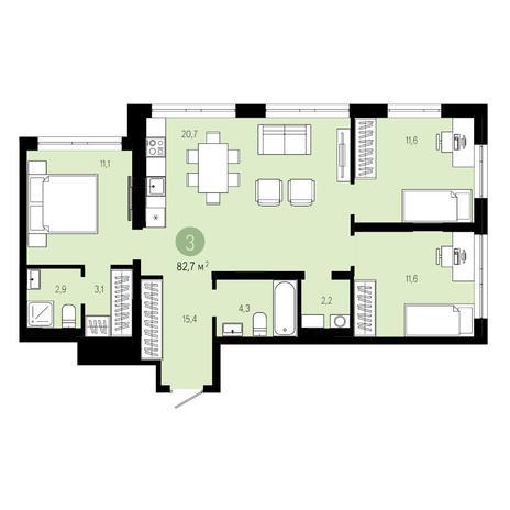 Вариант №4598, 4-комнатная квартира в жилом комплексе Спектр