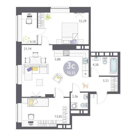 Вариант №3362, 3-комнатная квартира в жилом комплексе Ясный берег