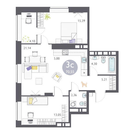 Вариант №3362, 3-комнатная квартира в жилом комплексе