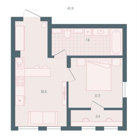 Вариант №5938, 1-комнатная квартира в жилом комплексе