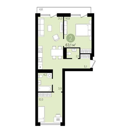 Вариант №3304, 2-комнатная квартира в жилом комплексе На Декабристов