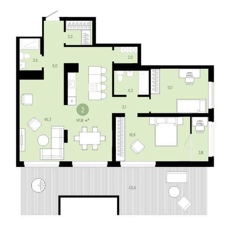Вариант №4578, 3-комнатная квартира в жилом комплексе Европейский Берег