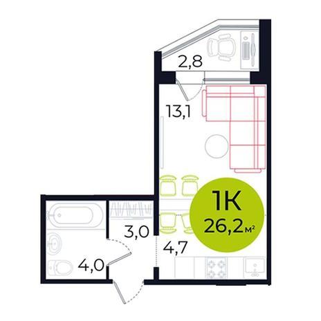 Вариант №5487, 1-комнатная квартира в жилом комплексе