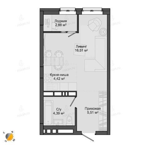 Вариант №2131, 1-комнатная квартира в жилом комплексе Чистая Слобода