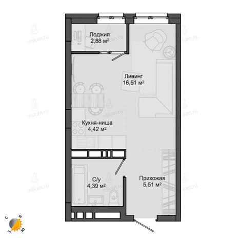 Вариант №2131, 1-комнатная квартира в жилом комплексе