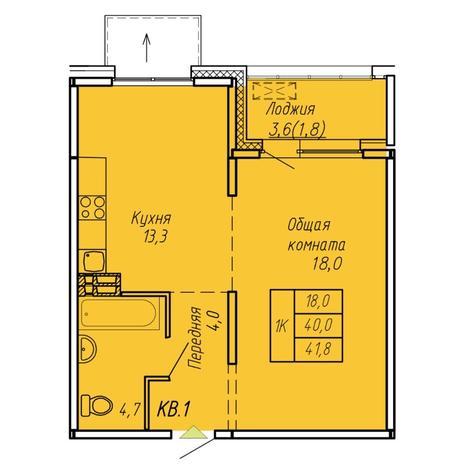 Вариант №6076, 1-комнатная квартира в жилом комплексе