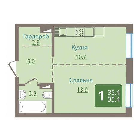 Вариант №3036, 1-комнатная квартира в жилом комплексе Чистая Слобода