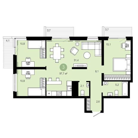 Вариант №4095, 3-комнатная квартира в жилом комплексе Европейский Берег