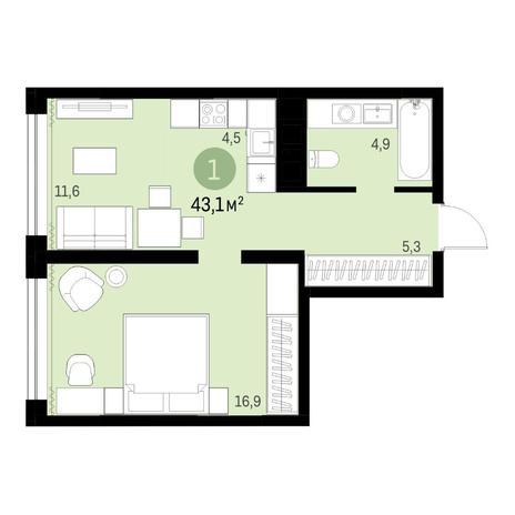 Вариант №6317, 2-комнатная квартира в жилом комплексе