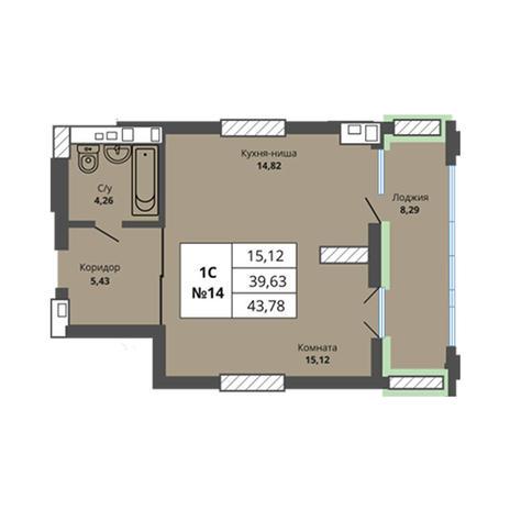 Вариант №2963, 1-комнатная квартира в жилом комплексе