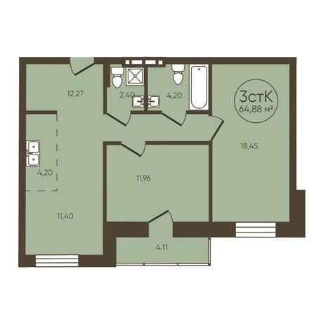 Вариант №3621, 3-комнатная квартира в жилом комплексе