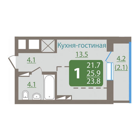 Вариант №3037, 1-комнатная квартира в жилом комплексе Акварельный 3.0