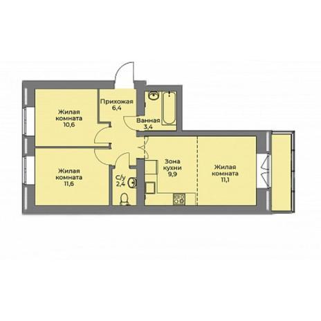Вариант №4409, 3-комнатная квартира в жилом комплексе Эскимо
