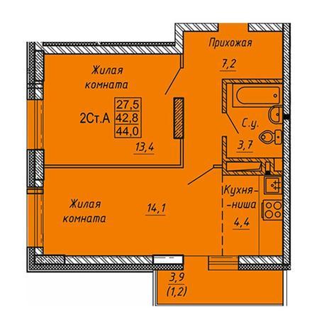 Вариант №3280, 2-комнатная квартира в жилом комплексе Ника