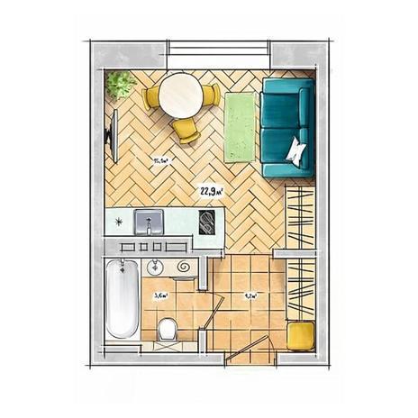 Вариант №3954, 1-комнатная квартира в жилом комплексе БонАпарт