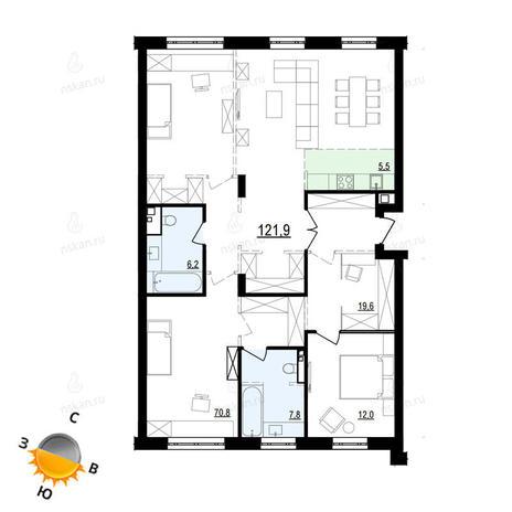 Вариант №868, 4-комнатная квартира в жилом комплексе Жуковка