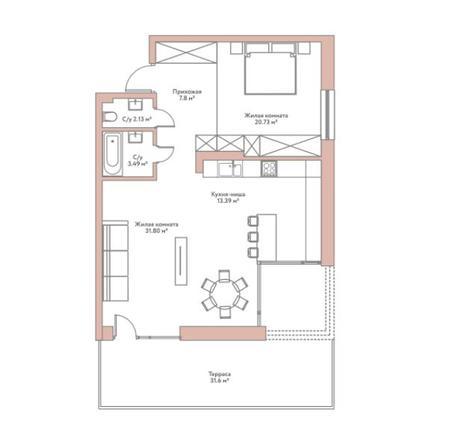 Вариант №5948, 2-комнатная квартира в жилом комплексе