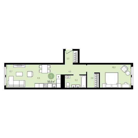 Вариант №4980, 2-комнатная квартира в жилом комплексе Пшеница