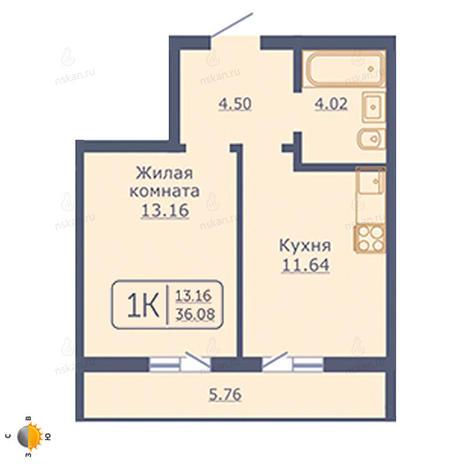 Вариант №2023, 1-комнатная квартира в жилом комплексе