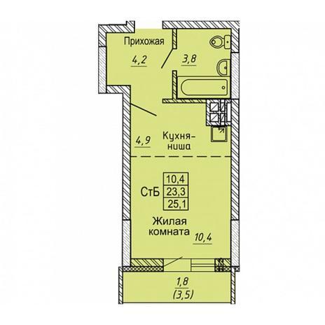 Вариант №5642, 1-комнатная квартира в жилом комплексе