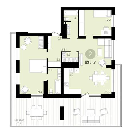 Вариант №3444, 3-комнатная квартира в жилом комплексе