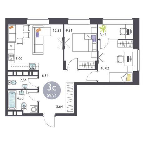 Вариант №3370, 3-комнатная квартира в жилом комплексе