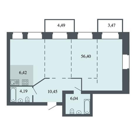 Вариант №4462, 4-комнатная квартира в жилом комплексе Спектр