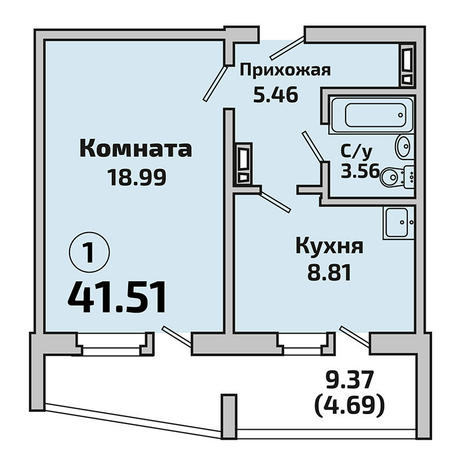Вариант №3395, 1-комнатная квартира в жилом комплексе