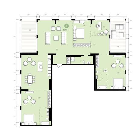 Вариант №6055, 4-комнатная квартира в жилом комплексе