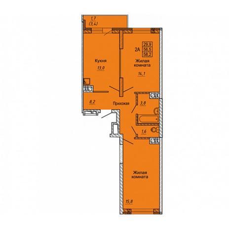 Вариант №5646, 2-комнатная квартира в жилом комплексе Одесса