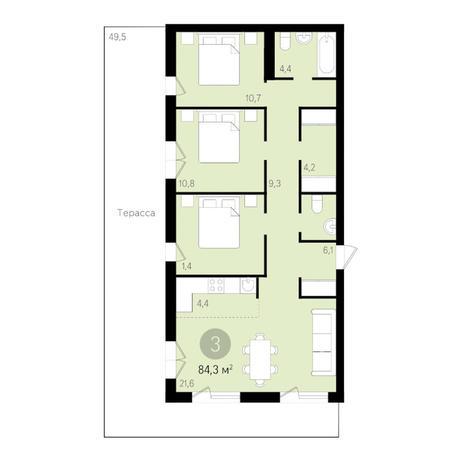 Вариант №3457, 4-комнатная квартира в жилом комплексе Дунаевский