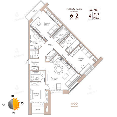 Вариант №350, 4-комнатная квартира в жилом комплексе Flora & Fauna