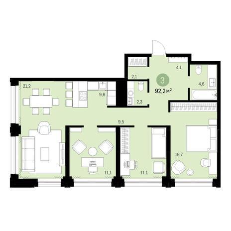 Вариант №6139, 4-комнатная квартира в жилом комплексе