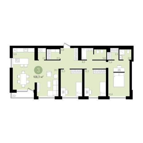Вариант №3639, 4-комнатная квартира в жилом комплексе Европейский Берег