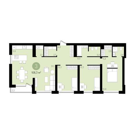 Вариант №3639, 4-комнатная квартира в жилом комплексе