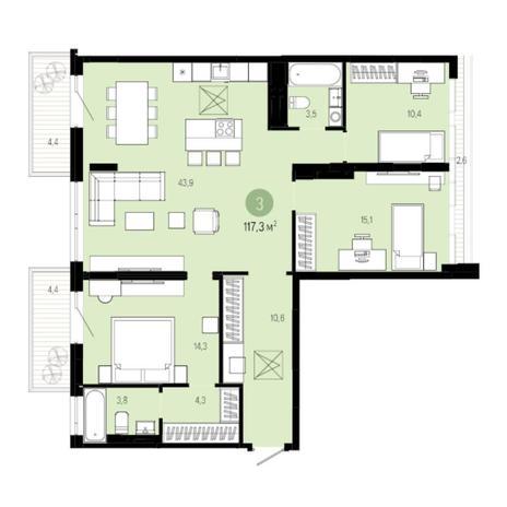 Вариант №6002, 4-комнатная квартира в жилом комплексе