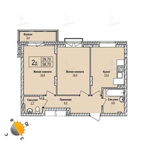 Вариант №1254, 2-комнатная квартира в жилом комплексе