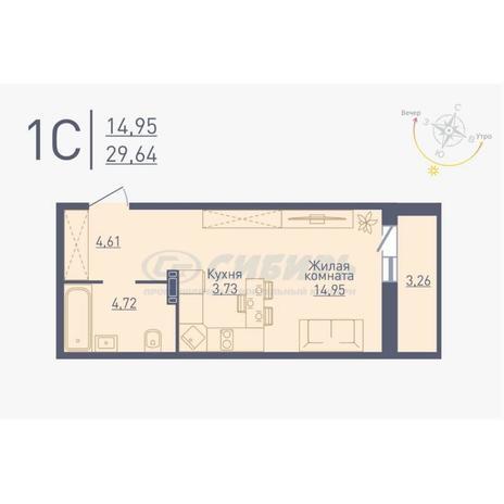 Вариант №4779, 1-комнатная квартира в жилом комплексе