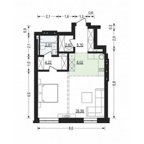 Вариант №4899, 2-комнатная квартира в жилом комплексе