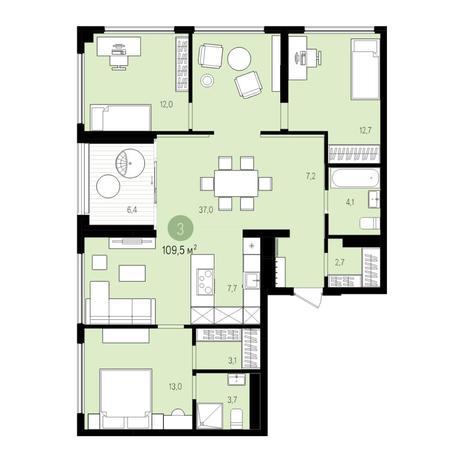 Вариант №5521, 5-комнатная квартира в жилом комплексе