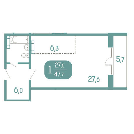 Вариант №2906, 1-комнатная квартира в жилом комплексе Аквамарин