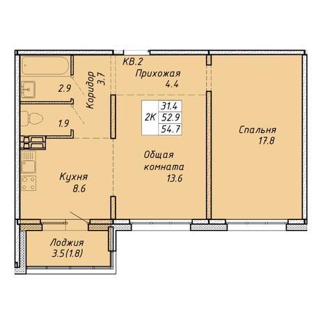 Вариант №6458, 2-комнатная квартира в жилом комплексе