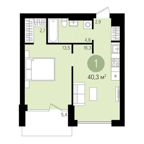 Вариант №3002, 2-комнатная квартира в жилом комплексе Чистая Слобода