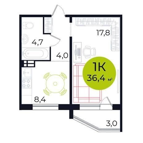 Вариант №5482, 1-комнатная квартира в жилом комплексе