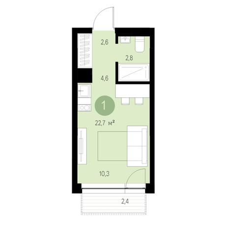 Вариант №6453, 1-комнатная квартира в жилом комплексе