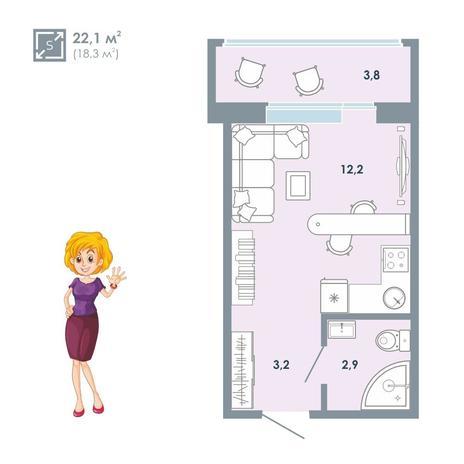 Вариант №5149, 1-комнатная квартира в жилом комплексе