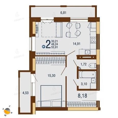 Вариант №1814, 2-комнатная квартира в жилом комплексе На Доватора