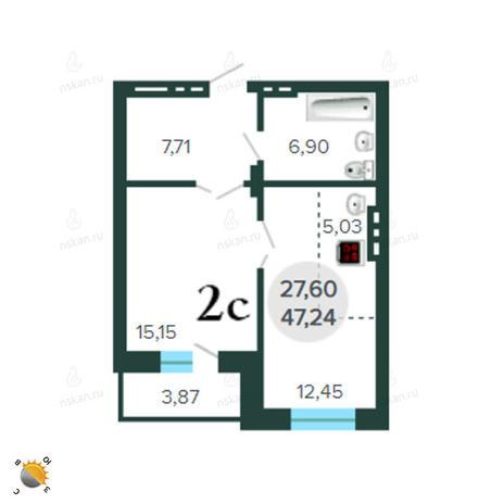 Вариант №2261, 2-комнатная квартира в жилом комплексе Чистая Слобода