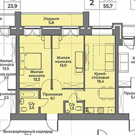 Вариант №3965, 2-комнатная квартира в жилом комплексе Солнечные часы